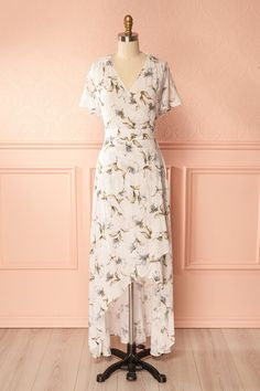 Kyra Ivory Floral High-Low Wrap Dress   Boutique 1861