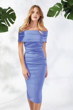 Marisa Matt Satin China Blue Dress Off the Shoulder Dress Satin Dresses, Blue Dresses, Off The Shoulder, Shoulder Dress, Blue China, Spring Summer 2018, Pretty, Bags, Shoes
