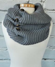 Another great find on #zulily! Olivia & Jane Heather Gray Button Infinity Scarf by Olivia & Jane #zulilyfinds