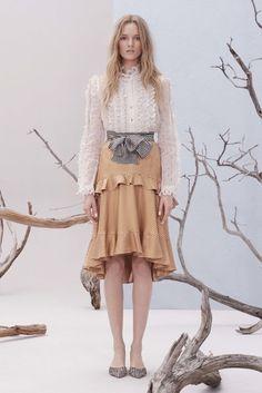 Юбка с воланами ZIMMERMANN - Юбка с воланами и принтом в полоску белого и горчичного цвета в интернет-магазине модной дизайнерской и брендовой одежды