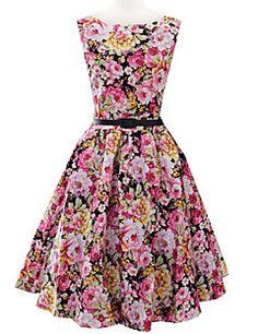 Women's+Vintage+/+Party+/+Cocktail+Floral+A+Line+Dress+,+Rou...+–+EUR+€+18.61