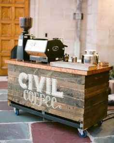 21 Ways to Serve Coffee at Your Wedding - Coffee Set - Ideas of Coffee Set - This couples favorite coffee shop Civil Coffee set up a coffee cart for guests who needed a mid-reception pick-me-up. Coffee Station Kitchen, Coffee Bars In Kitchen, Home Coffee Stations, Mobile Coffee Cart, Mobile Coffee Shop, Small Coffee Shop, Coffee Shop Design, Coffee Shop Bar, Coffee Bar Wedding