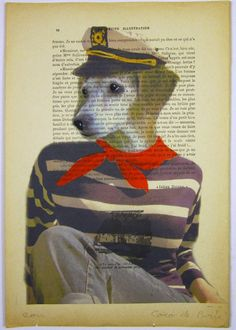 $10 Sailor dog- ORIGINAL ARTWORK Mixed Media, Hand Painted on 1920 famous Parisien Magazine 'La Petit Illustration' by Coco De Paris