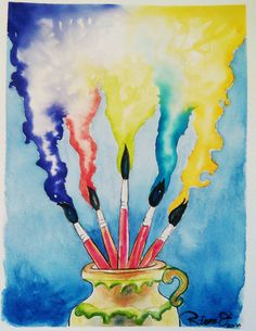 Jar with Brushes and colorfull ideas. Watercolour on Gvarro. 11 in X 15 in. Rivera Fernández 2016