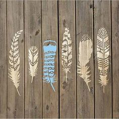 Feathers 6 Piece Stencil Kit - Reusable Stencils for DIY Craft Projects
