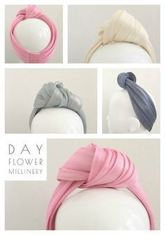 Have you got a turban wrap yet? I created these out of a gorgeous material called silk abaca.Turban Wraps – The Milliners Garden Turban Headband Tutorial, Fascinator Headband, Turban Headbands, Diy Headband, Fascinators, Headpieces, Baby Turban, Turban Hat, Turban Style