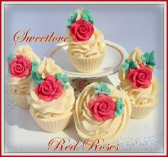 Red Roses Cold Process Luxury Cupcake Soap by SweetloveCandles, $7.99