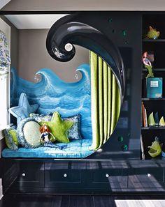 cutest kids reading nook sea themed bookshelf
