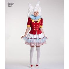 This must-have costume dress pattern features cosplay costumes for two Disney favorites: the Mad Hatter and the White Rabbit from Alice in Wonderland. Pattern also includes bow tie and neck ruffles. Disney for Simplicity sewing patterns. Bunny Costume, Costume Dress, Cosplay Costumes, Halloween Costumes, Halloween 2019, Halloween Ideas, Halloween Party, Alice In Wonderland Rabbit, Alice In Wonderland Costume