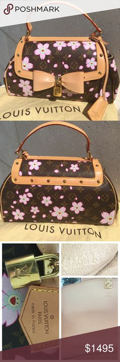 Louis Vuitton Murikami Cherry Blossom Sac Retro Takashi Murakami Collection. Monogram  coated canvas LV Cherry Blossom Sac Retro w/brass hardware, tan vachetta leather w/stud embellishments, single flat top handle, beige Alcantara lining, single pocket at interior wall & snap closure at front flap. Date code reads CA0023. The exterior of the bag is in great condition with only the corners showing some wear. The interior lining has some spots/pen marks & the interior flap shows some fading to…