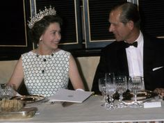 Queen Elizabeth ll and Prince Philip, Duke of Edinburgh attend a banquet in Canada in July, 1976.