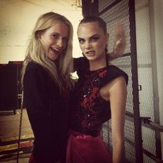 We heart Delevingnes: sisters Poppy and Cara backstage at Jason Wu at MBFWNY
