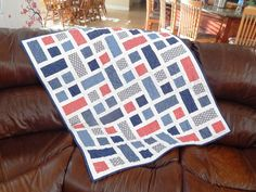 The Fleming's Nine: Navy, Gray, and Red Baby Quilt