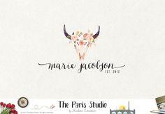 Rustic Antler Logo with Florals #logodesign #wordpress #website #blog #branding