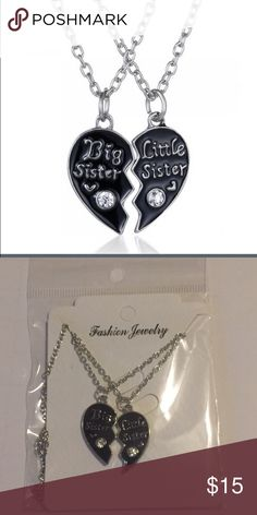 "Big Sister Little Sister 💔 Pendant Necklaces -brand new! -comes with both necklaces (big sister & little sister) -Pendant size approximately : 0.9"" x 0.5"" -Chain Length: 16"" + 2"" Jewelry Necklaces"