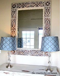 tutorial for how to dry brush to instantly updated dated mirrors, frames and furniture by dry brushing {The Creativity Exchange}