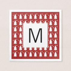 Monogram Christmas Trees & Stars Paper Napkin