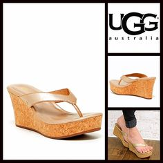 "❗️1-HOUR SALE❗️UGG Wedge SANDALS Platform Heels UGG AUSTRALIA Wedge Sandals Platform NEW WITH TAGS   * Slip on thong style straps  * Approx. 3"" high heels & 1.25"" front platform.  * Padded footbed w/slight arch support  * Wedge platform cork footbed, metallic gold washed finish upper & rubber soles  * Gold stud hardware; Made with water resistant materials  * True to size Material:Leather upper & lining & rubber sole.  Color:Gold washed  Item:   No Trades ✅ Offers Considered*✅ *Please use…"