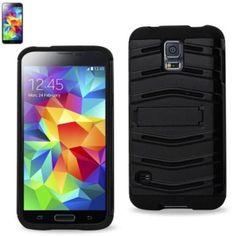 Reiko Fish Bone Pattern Hybrid Case For Samsung Galaxy S5 Black With Horizontal Kickstand
