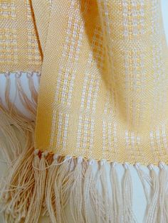 Handwoven Yellow and Cream Lace Bamboo and Tencel Scarf.