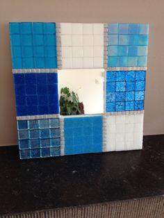 mozaiek spiegel blauw decoratieve mozaiek door CapolavoriDiMosaico