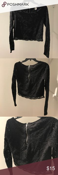 Black Lace Detail Crop Top Brand new w/ out tags, only worn once, true to size as material does not stretch ....(The more you buy, the more I lower my prices so bundle & save!!) Tops Crop Tops