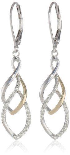 SandG Sterling Silver and 14K Yellow Tear Drop Design Diamond Earrings