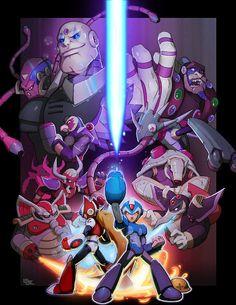 Mega-Man Tribute: Game On by Darkkenjie on Etsy Mega Man, Game Character, Character Design, Maverick Hunter, Arcade, Science Fiction, Gaming Wall Art, Fighting Robots, Love Games