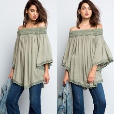 BELLA Boho Off The Shoulder TunicComing in 2days One of my best sellers is now available in Sage! Flaring bell sleeves and floral crotchet hem. Boho details wrapping around the shoulder giving you a sweet off-the-shoulder look. • 100% Rayon  • Also available in Wine! Wild Dreams Tops Tunics
