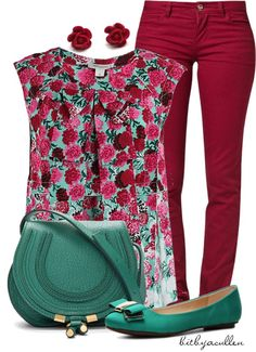 """""""Florals on Fire!"""" by bitbyacullen ❤ liked on Polyvore"""