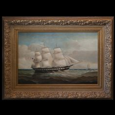 "DESCRIPTION:Oil on canvas painting by D. Tayler, American artist known for maritime paintings. Depicts a three sail boat voyaging through rough seas, with a raised Colonial American Flag. Finished with a clear blue sky and scenic oceanic backdrop with a smaller sailboat off in the distance. In an elegant floral gilded wooden frame and signed:""D Tayler"" CIRCA:20th Ct. ORIGIN:USA DIMENSIONS:(With Frame)H:37.5"" L:49.5"" (Without Frame) H:23.5"" L:35.5"""