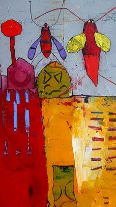 Elke Trittel acrylics,collage on board 50/60cm detail