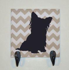 Gray Chevron Yorkshire Terrier Yorkie Silhouette by NoLimitsArt, $24.95