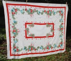 Vintage Christmas Tablecloth with Red and Blue Shiny Brites