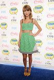 Taylor Swift in a lime-green tweed Novis crop top and matching skirt at Teen Choice Awards 2014