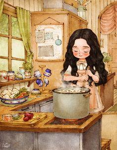 직접 딴 버섯으로 만드는 스프는 무척 맛있을 것 같아요. I made mushroom soup made with the mushrooms I collected, but alas I can't get any better.