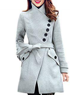Women's Oblique Button High Neck Belted Coat - OASAP.com