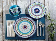 Marrakesh 16 Piece Stoneware Dinnerware Set in Blues by EuroCeramica #EuroCeramica
