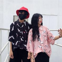 women Summer new Harajuku BF wind Retro Birds printing loose lapel short sleeve shirt male and female couple 1990s Fashion Trends, Korean Fashion Trends, Fashion 101, Fashion Ideas, Fashion Couple, Asian Fashion, Fashion Online, Matching Couples, Matching Outfits