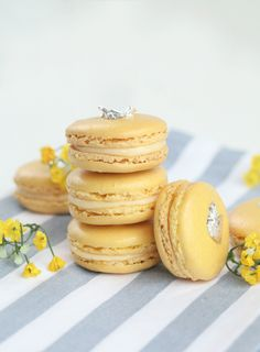 In search of the perfect macaron recipe, this one takes the cake! This yummy lemon cream macaron makes up nice & easy, & aren't they just precious? Lemon Macaroons, French Macaroons, Sweet Desserts, Just Desserts, Dessert Recipes, Cake Recipes, Yummy Treats, Sweet Treats, Meringue Desserts