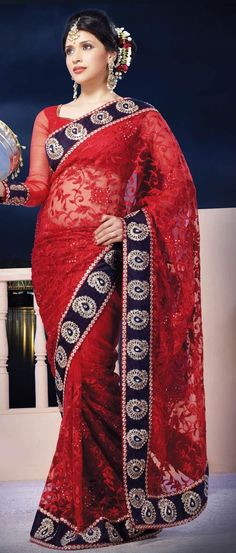 #Red Net #Saree with #Blouse @ US $129.25 | Shop Here: http://www.utsavfashion.com/store/sarees-large.aspx?icode=sxk570