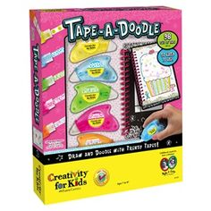 Tape-a-Doodle is a fun, new type of tape crafting kit! It's one of the hottest products from Creativity for Kids. Using pre-printed tape runners and markers, doodle in the spiral bound book.