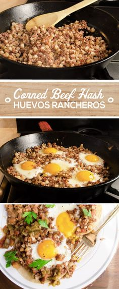 Start your weekend off with a hearty breakfast the whole family will love. This classic south of the border recipe for Huevos Rancheros is given a twist with the addition of flavorful corned beef. A can MARY KITCHEN® Corned Beef Hash, eggs, tortillas and Corned Beef Recipes, Canned Corned Beef Recipe, Huevos Rancheros, Breakfast Desayunos, Breakfast Dishes, Breakfast Ideas, Mexican Food Recipes, Paleo Recipes, Bon Appetit