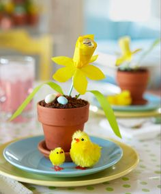 """This deceptive daffodil is actually dessert in disguise: The """"soil"""" is a crumb-covered chocolate cupcake, while a tissue-paper flower conceals a foil-wrapped candy. The how-tos are so effortless that even the littlest peeps can pitch in. Get the step-by-step instructions.  - GoodHousekeeping.com"""