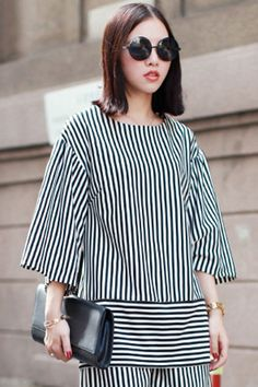 ROMWE | Half Sleeves Pinstriped Blouse, The Latest Street Fashion