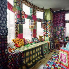Crochet Granny Square Wreck Room, Come Up To My Room © Allyson Mitchell with Paul Campbell, 2005 Art Au Crochet, Crochet Home, Love Crochet, Knit Crochet, Knit Art, Yarn Bombing, Crochet Hippie, Guerilla Knitting, Grannies Crochet