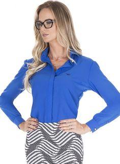 b1e4a94bea camisa social azul principessa suzan Camisa Social Feminina