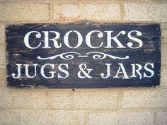 Crocks Jugs & Jars Pine Lath Wood Sign