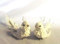 Figurines Snowbird Winter bird White bird  Bird of paradise Beautiful Birds Birds for decoration made of polymer clay Fantasy animals (17.00 USD) by FantasyIznakurnozh