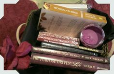 The Bible study collection in a basket
